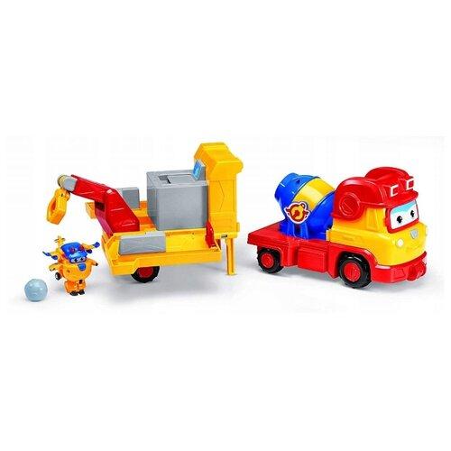 Трансформер Auldey SUPER WINGS Рэми с мини Донни (команда Строителей) желтый/красный
