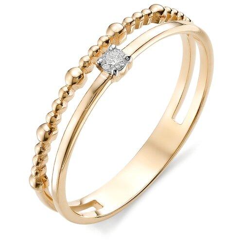 АЛЬКОР Кольцо с бриллиантом из из красного золота 12394-100, размер 16.5