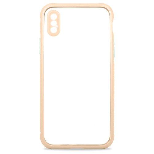 Прозрачный чехол для iPhone X и XS / Чехол 360 на Айфон Икс и Айфон Икс Эс / Силиконовый чехол с функцией защитного стекла для камеры (Светло-розовый)