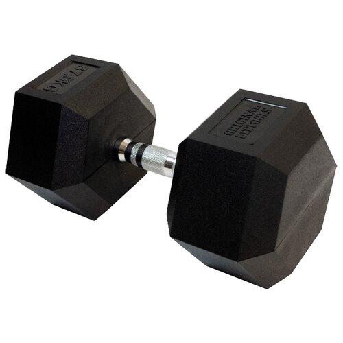 Гантель неразборная Original FitTools FT-HEX-37.5 37.5 кг хром/черный гантель гексагональная original fit tools обрезиненная хромированная ручка 2 кг ft hex 02