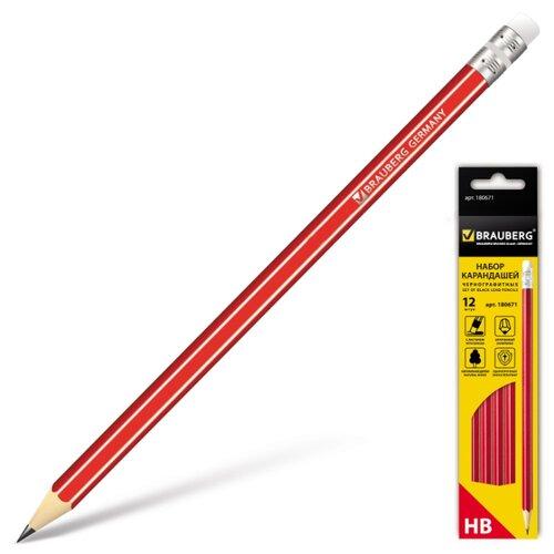 Купить BRAUBERG Набор чернографитных карандашей ZTX 12 штук (180671), Карандаши