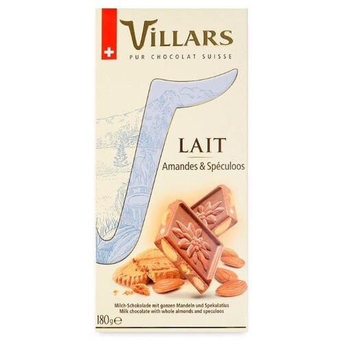 Шоколад Villars Lait Amandes & Speculoos молочный с миндалем и печеньем 33% какао, 180 г