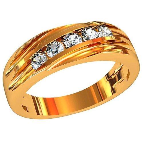 Фото - Приволжский Ювелир Кольцо с 5 фианитами из серебра с позолотой 262118-FA11, размер 18 приволжский ювелир кольцо с 65 фианитами из серебра с позолотой 252119 fa11 размер 19 5