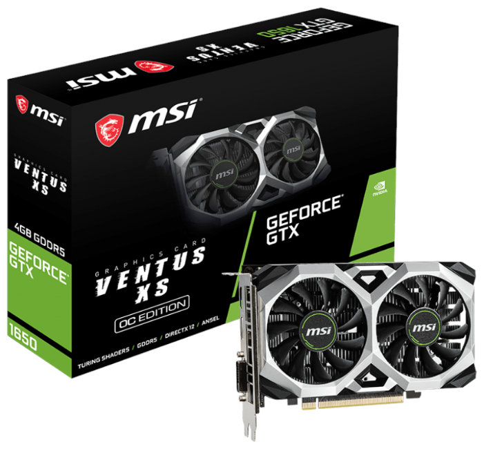 Видеокарта MSI GeForce GTX 1650 1740MHz PCI-E 3.0 4096MB 8000MHz 128 bit DVI DisplayPort HDMI HDCP V