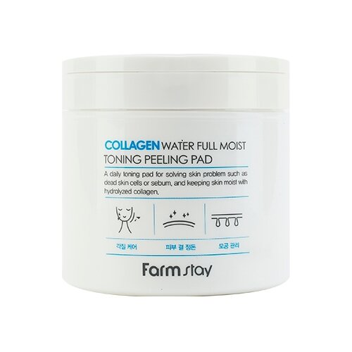 Farmstay очищающие подушечки Collagen Water Full Moist Toning Peeling Pad 150 мл 70 шт.