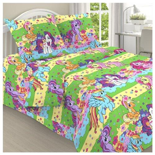 Постельное белье 1.5-спальное Letto Пони 50х70 см, бязь зеленый/голубой/розовый letto детское постельное белье 3 предмета letto машинки голубой