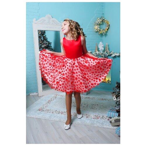Платье Ladetto размер 38-152, красный платье oodji ultra цвет красный белый 14001071 13 46148 4512s размер xs 42 170