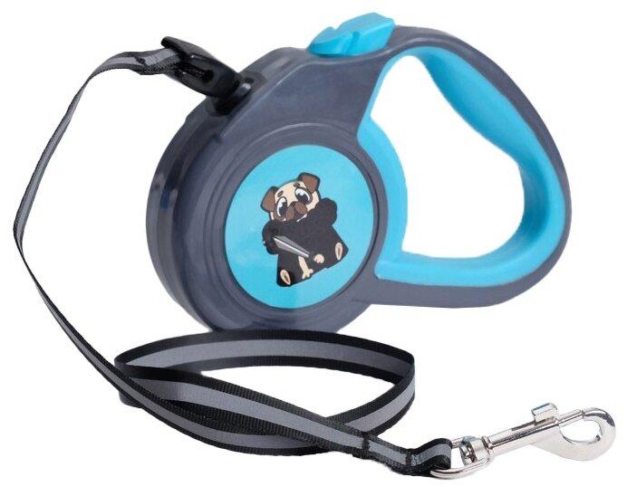 Поводок рулетка для собак Пижон с прорезиненной ручкой