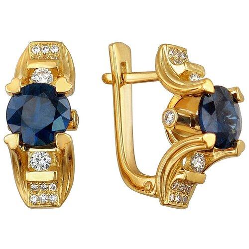 Эстет Серьги с сапфирами и бриллиантами из жёлтого золота 750 пробы 01С646314-1 ЭСТЕТ