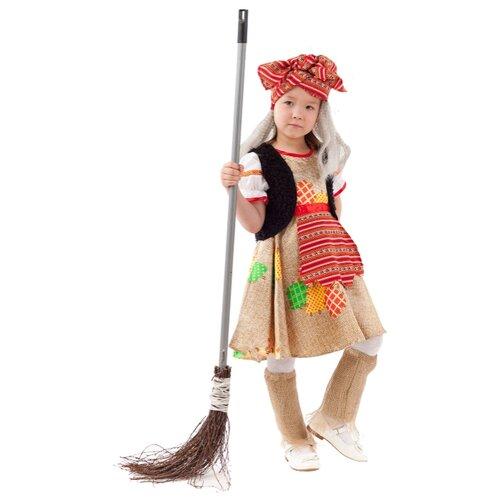 Купить Костюм пуговка Баба Яга (1068 к-20), бежевый/черный/красный, размер 146, Карнавальные костюмы