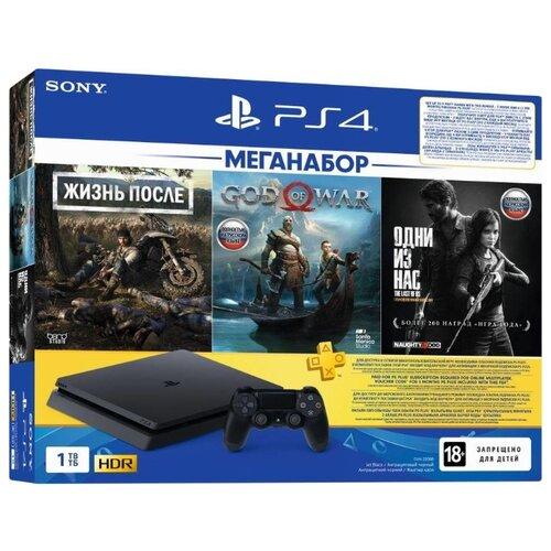 Игровая приставка Sony PlayStation 4 Slim 1 ТБ черный + Days Gone + God Of War + The Last Of Us Remastered + PS Plus 3 месяца