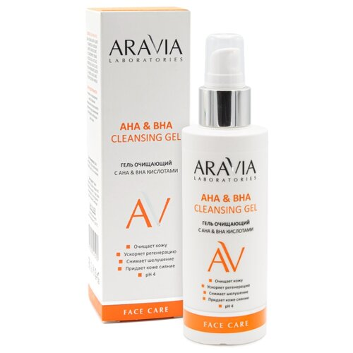 ARAVIA Professional гель очищающий с AHA & BHA кислотами Cleansing Gel, 150 мл восстанавливающий бальзам для ног с витаминами revita balm aravia professional 100 мл