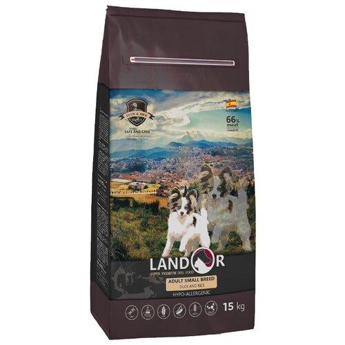 Сухой корм для собак Landor (15 кг) Adult Small Breed с мясом утки 15 кг (для мелких пород) сухой корм для собак landor 3 кг adult lamb with rice с мясом ягненка 3 кг