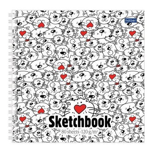 Купить Скетчбук Hatber Прикольные коты 17 х 17 см, 120 г/м², 80 л., Альбомы для рисования
