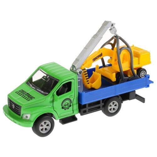 Купить Набор техники ТЕХНОПАРК ГАЗ Газон Next + экскаватор (SB-18-23-G+EW-WB) зеленый/синий/желтый, Машинки и техника