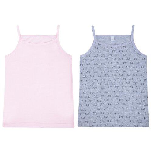 Купить Майка Leader Kids 2 шт., размер 110-116, розовый/серый, Белье и купальники