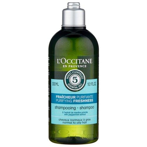 Купить L'Occitane en Provence шампунь Аромакология Живительная свежесть для нормальных и жирных волос 300 мл
