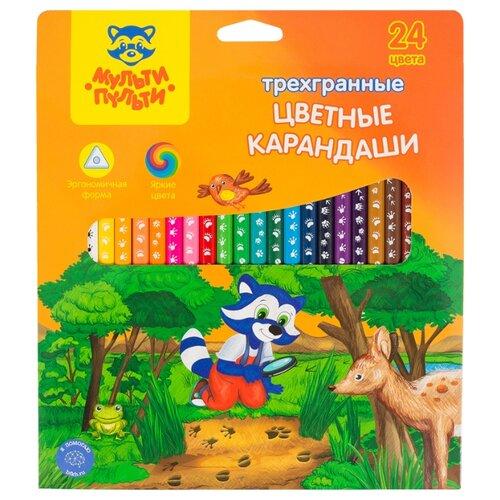 Купить Мульти-Пульти Карандаши цветные Енот-следопыт 24 цвета (CP_20541), Цветные карандаши
