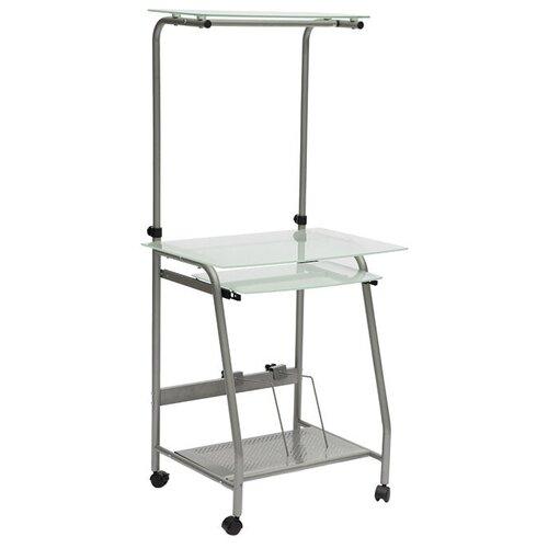 Компьютерный стол TetChair WRX-03, 65х49 см, цвет: стекло матовое/серый каркас
