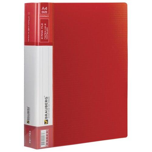 BRAUBERG Папка на 2 кольцах Contract A4, 35 мм красная папка brauberg a4 390x315x120mm black 223082