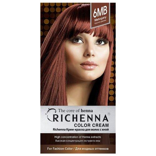 Richenna Крем-краска для волос с хной, 6MB mahogany