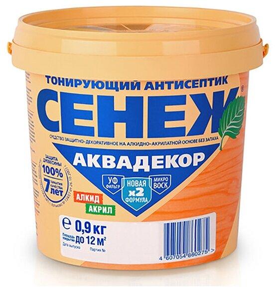 Сенеж Аквадекор - тонирующий антисептик для древесины, 118 Венге 0,9 кг
