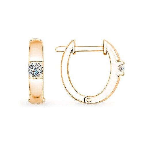ЛУКАС Серьги с 2 бриллиантами из красного золота E01-D-BS-0105
