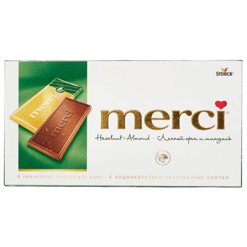 Шоколад Merci молочный порционный с лесным орехом и миндалем, 100 г