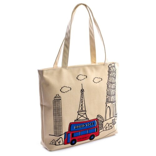 Сумка тоут Kingth Goldn C033-B, текстиль, бежевый сумка тоут kingth goldn c187 3 4 7 8 9 текстиль