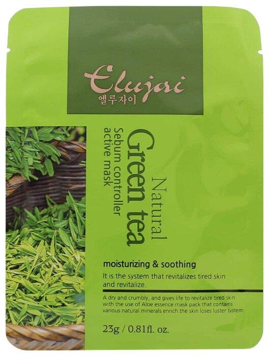 Elujai Natural Green Tea Sebum Controller Active Mask Матирующая тканевая маска с экстрактом зелёного чая