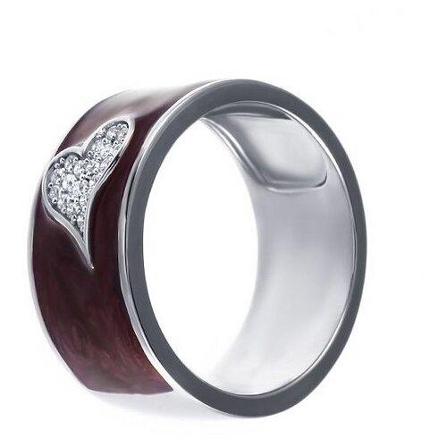 JV Кольцо с эмалью и фианитами из серебра ML12521A-KO-ENAM-003-WG, размер 17