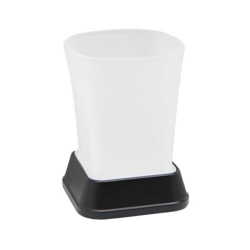 Стакан для зубных щеток WasserKRAFT Amper K-5428, черный/прозрачный