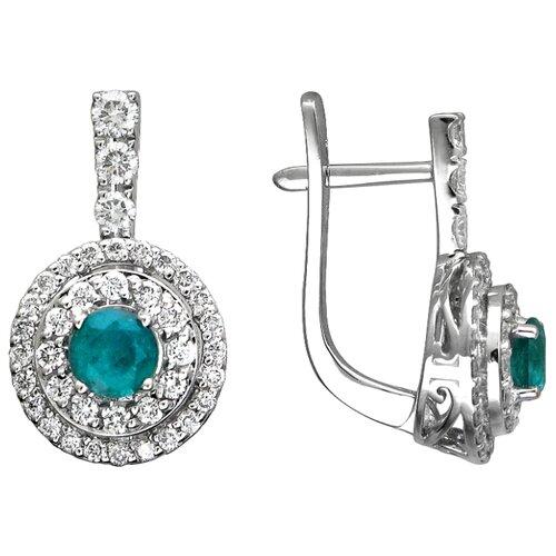 Эстет Золотые серьги с бриллиантами, изумрудом 01С625251-2