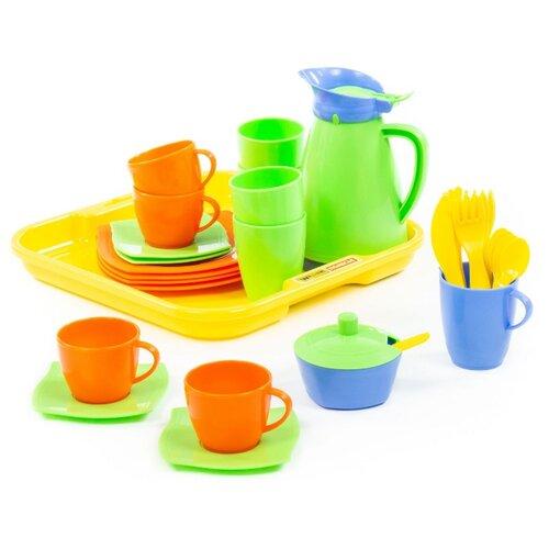 Набор посуды Полесье Алиса с подносом на 4 персоны 40657/40640 желтый/оранжевый/зеленый полесье набор игрушечной посуды алиса на 4 персоны 58980 цвет в ассортименте