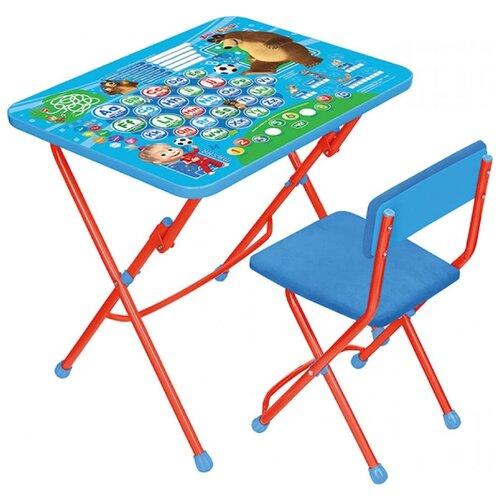 Купить Комплект Nika стол + стул Маша и Медведь Английская азбука (КУ1/4) 60x45 см голубой/красный, Парты и столы