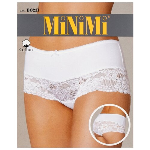 MiNiMi Трусы Трусы-шорты средней посадки с кружевом, размер 44/S, bianco трусы шорты