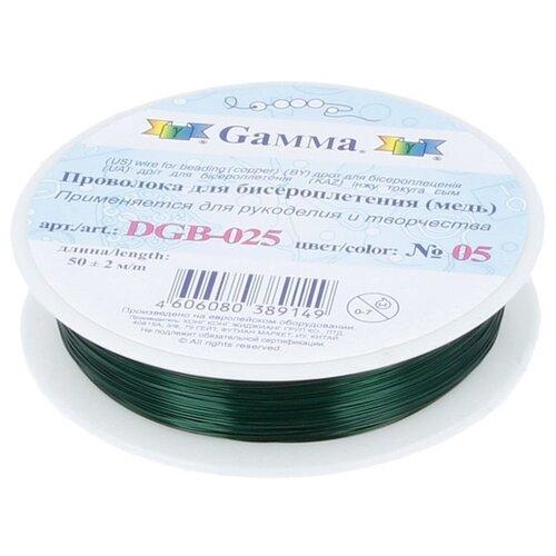 Купить Проволока для бисера Gamma , металл (цвет: зеленый), арт. DGB-025 05, 0, 25 мм x 50±2 м, Фурнитура для украшений