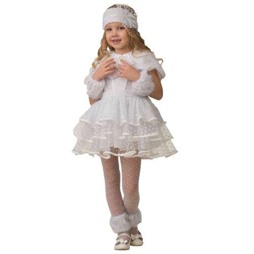 Купить Костюм Батик Jeanees Снежинка Снеговичка (5135), белый, размер 140, Карнавальные костюмы