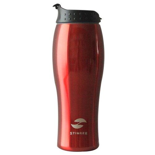 Термокружка Stinger, 0,4 л, сталь/пластик, красный глянцевый, 6,5х22,3 см