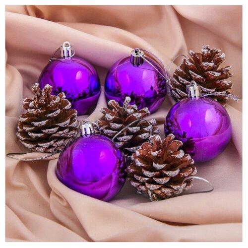 Набор елочных игрушек Зимнее волшебство Шишка 3259763 - 3259766, фиолетовый, 8 шт. набор шаров зимнее волшебство миндора 4196473 красный 8 шт