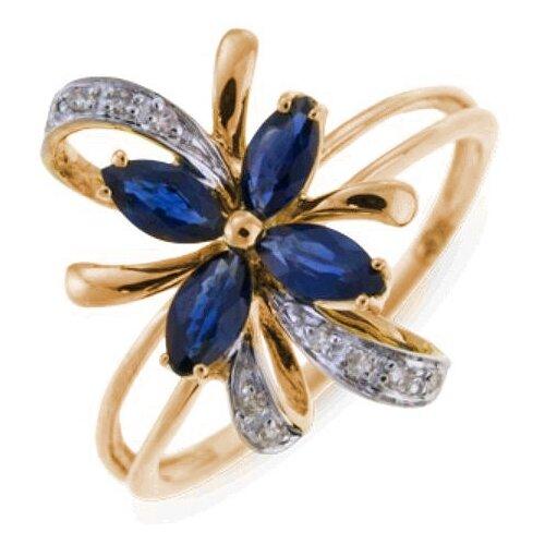 ЛУКАС Кольцо с сапфирами и бриллиантами из красного золота R01-D-33862-SA, размер 16.5