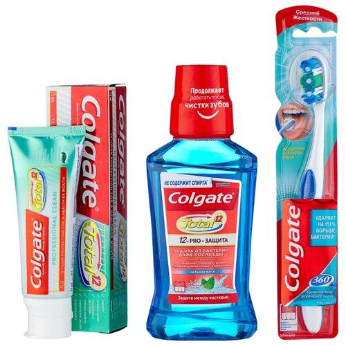 Купить Набор средств Colgate Профессиональная чистка: гель Total Профессиональная чистка, 75 мл + зубная щётка 360 Суперчистота + ополаскиватель для полости рта Total Pro Защита Сильная мята, 250 мл