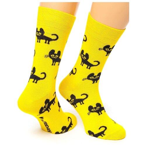 Фото - Носки St. Friday Charming Cat, размер 34-37, желтый/черный носки st friday цой жив гуф умер размер 34 37 черный