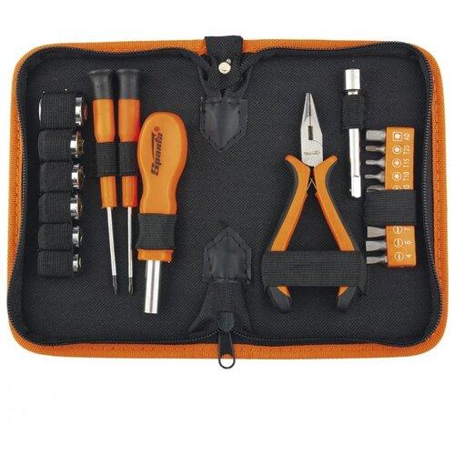 Набор инструментов Sparta (22 предм.) 13537 черный/оранжевый слесарно монтажный набор 21 предмет sparta 13537