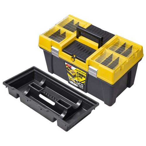 Ящик с органайзером Patrol STUFF Semi Profi 26 Carbo 59.5x33.7x31.6 см черный/желтый ящик с органайзером stanley jumbo 1 92 908 31 4x56 2x30 см желтый черный
