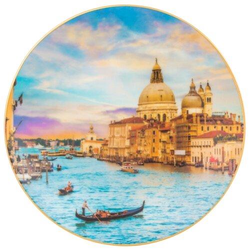 Тарелка декоративная настенная Elan gallery Венеция, 20 см голубой/оранжевый фигурка декоративная elan gallery лягушонок с планшетом 18 5 х 6 5 х 5 5 см