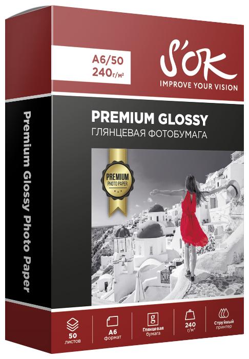 Бумага A6 50 шт. S'OK Premium Glossy 240г/м2