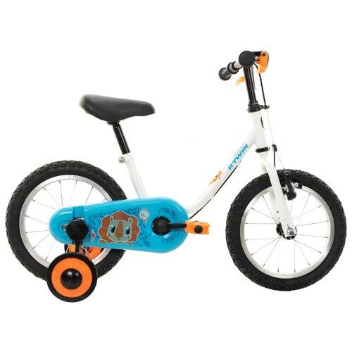 Детский велосипед B'TWIN Petitblue 100 14 белый/голубой (требует финальной сборки)