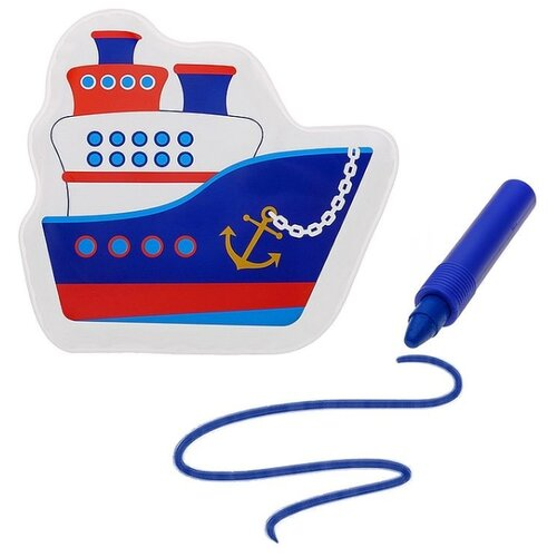 Купить Набор для ванной Крошка Я Кораблик + водный карандаш (3045304) синий, Игрушки для ванной