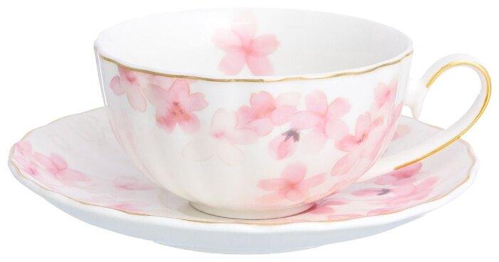 Elan gallery Чайная пара Цветущая розовая сакура 220 мл белый